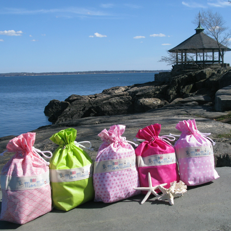 Ici et La Creations swimsuit bags at Larchmont Manor Beach, NY