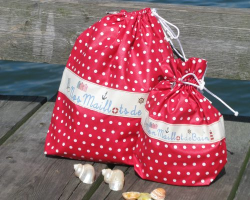 Ici et La Creations swimsuit bags red with polka dots