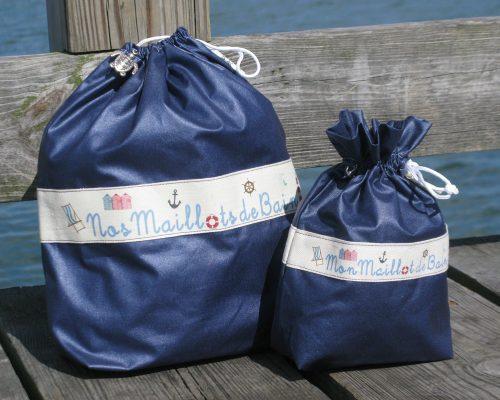 Ici et La Creations swimsuit bags navy