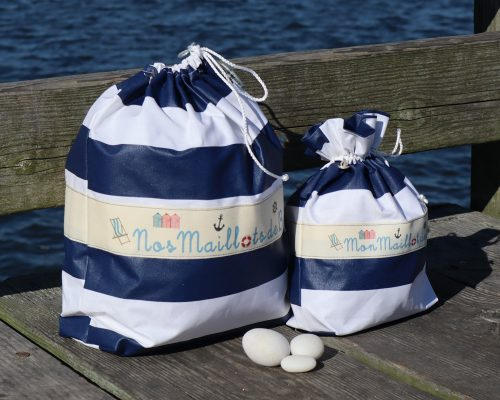 Ici et La Creations swimsuit bags navy and white stripes