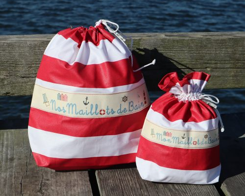 Ici et La Creations swimsuit bags red and white stripes