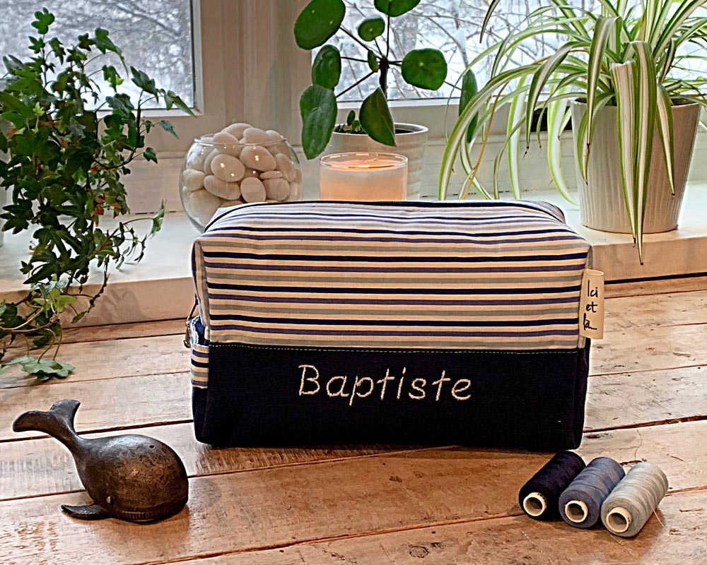 Ici et La Creations - Liberty Toiletry Bags - Liberty Striped Navy